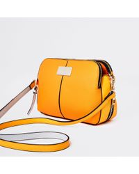 River Island - Orange Triple Compartment Cross Body Bag - Lyst