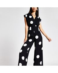 River Island - Spot Wide Leg V Neck Jumpsuit - Lyst