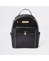 422d420fb76f River Island - Black Front Pocket Mini Backpack - Lyst