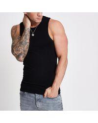 River Island Black Muscle Fit Vest