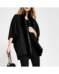 River Island Black Shearling Faux Fur Bonded Cape