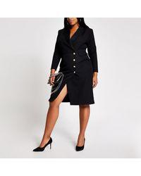 River Island Plus Black Button Front Blazer Midi Dress