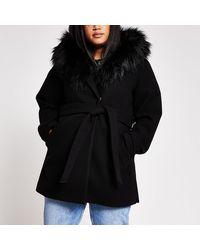 River Island Plus Black Belted Faux Fur Hooded Robe Coat