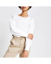 River Island Broidered Puff Sleeve Top - White