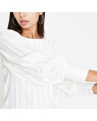 River Island White Broidered Puff Sleeve Top