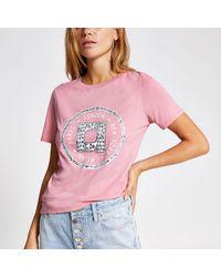 River Island Embellished T-shirt - Pink