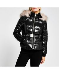 River Island Petite Black Double Zip Padded Belted Jacket