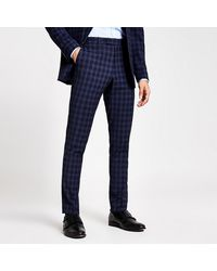 River Island Blue Check Skinny Suit Pants
