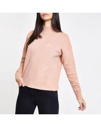 River Island - Pink Turtle Neck Sweatshirt - Lyst