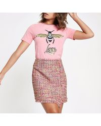River Island - Pink Check Boucle Button Mini Skirt - Lyst
