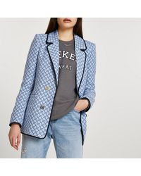 River Island Blue Ri Monogram Boucle Blazer