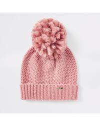 River Island - Turn-up Hem Knit Beanie Hat - Lyst