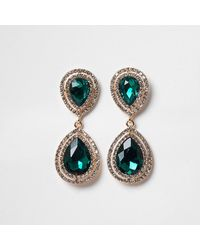 River Island Green Color Diamante Teardrop Earrings