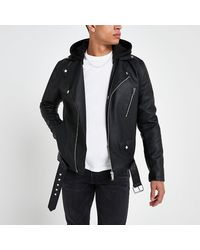 River Island Black Hooded Faux Leather Biker Jacket