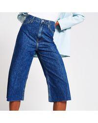 River Island Blue Denim Culotte High Rise Jean