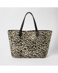 River Island Leopard Print Beach Tote Bag