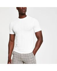 e9f609a63b3 Ecru Ribbed Knit Slim Fit T-shirt - Natural