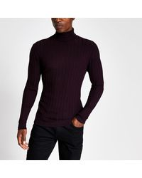 River Island Purple Roll Neck Muscle Fit Ribbed Sweater
