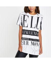River Island - Print Diamante Boyfriend T-shirt - Lyst