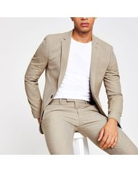 River Island Ecru Stripe Super Skinny Fit Suit Jacket - Natural