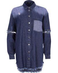 River Island - Dark Blue Split Ring Sleeve Denim Shirt - Lyst