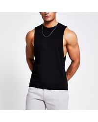 River Island Black Muscle Fit Tank Top