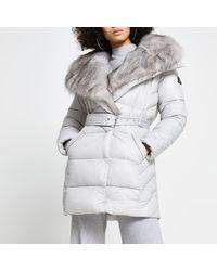 River Island Grey Faux Fur Padded Longline Coat
