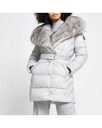 River Island Gray Faux Fur Padded Longline Coat