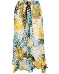 River Island Plus Blue Leaf Print Maxi Beach Skirt