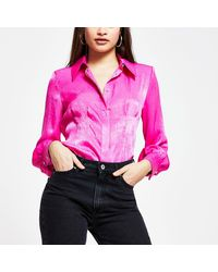 River Island Pink Long Sleeve Fitted Shirt