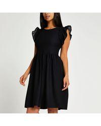 River Island Petite Short Frill Sleeve Mini Dress - Black