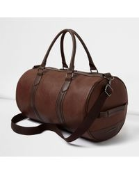 River Island Tan Faux Leather Holdall - Brown