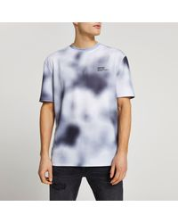 River Island - Black Blur Print Short Sleeve T-shirt - Lyst