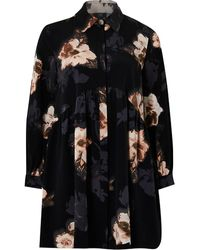 River Island Petite Black Floral Shirt Smock Mini Dress