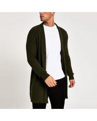 River Island Long Sleeve Foldback Collar Cardigan - Green