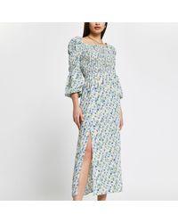 River Island - Cream Shirred Puff Sleeve Maxi Dress - Lyst