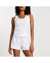 River Island White Ribbed Pajama Set