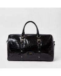 River Island Black Leather Embossed Barrel Bag