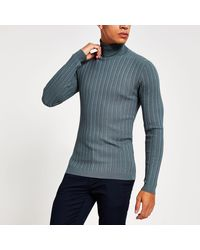 River Island Gray Roll Neck Muscle Fit Ribbed Sweater
