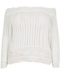 River Island Plus White Crochet Off The Shoulder Sweater