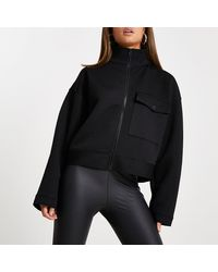 River Island Black Quilted Zip Through Shacket