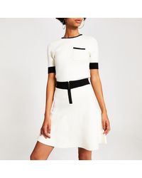 River Island Cream Contrast Tipped Knitted Top - Natural