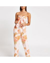 River Island Pink Floral Shirred Tie Front Beach Jumpsuit