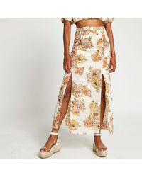 River Island White Floral Broderie Double Split Maxi Skirt