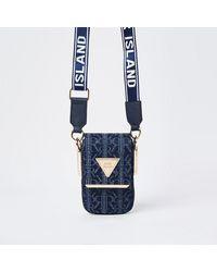 River Island Blue Denim Vertical Cross Body Bag