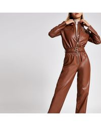 River Island - Brown Faux Leather Boiler Jumpsuit - Lyst