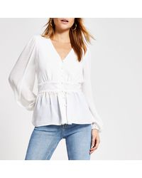 River Island Lace Waist Button Front Blouse - White