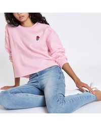 River Island - Pink Rose Embroidered Sweatshirt - Lyst