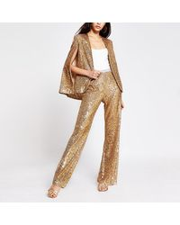 River Island Gold Sequin Pants - Metallic