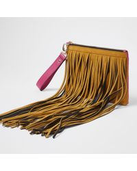 River Island - Tan And Pink Suede Fringe Clutch Bag - Lyst